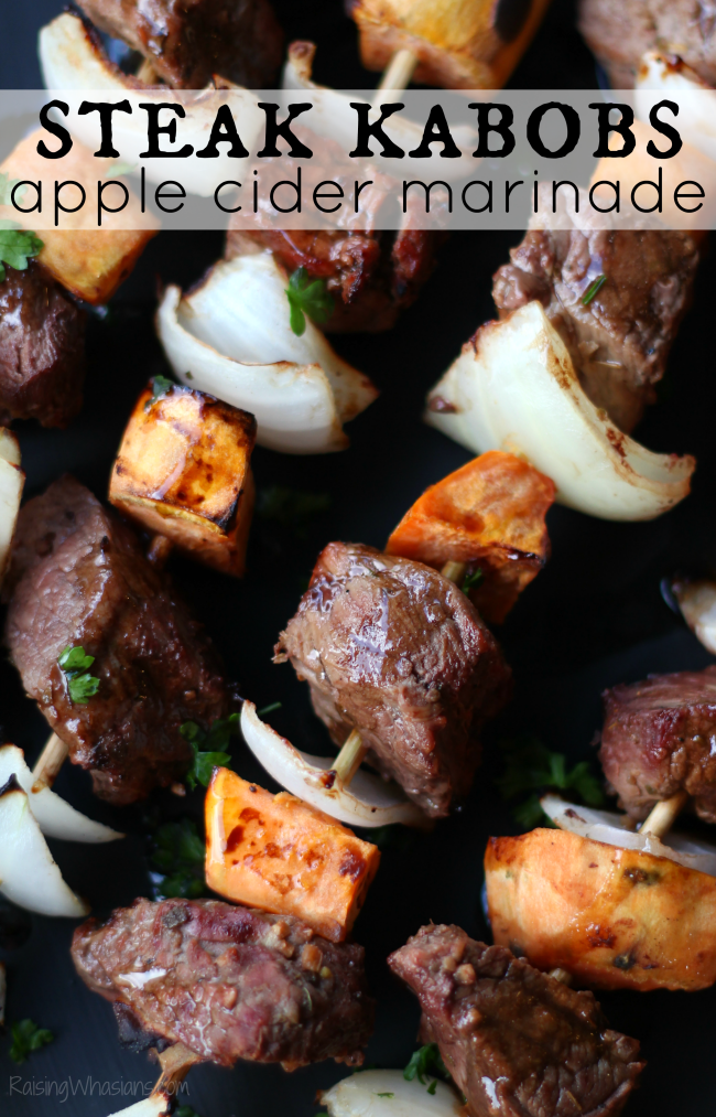 Fall steak kabobs apple cider marinade Fall Steak Kabobs with Apple Cider Marinade | Delicious fall grilling recipe featuring steak, sweet potatoes & easy apple cider marinade #ProteinChallenge #Recipe #grilling