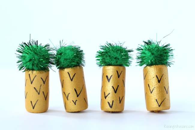 Pineapple kids craft wine cork