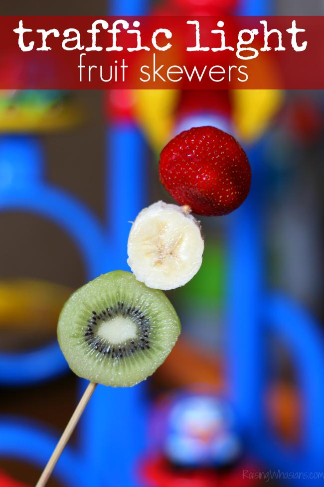 Traffic light fruit skewers snack