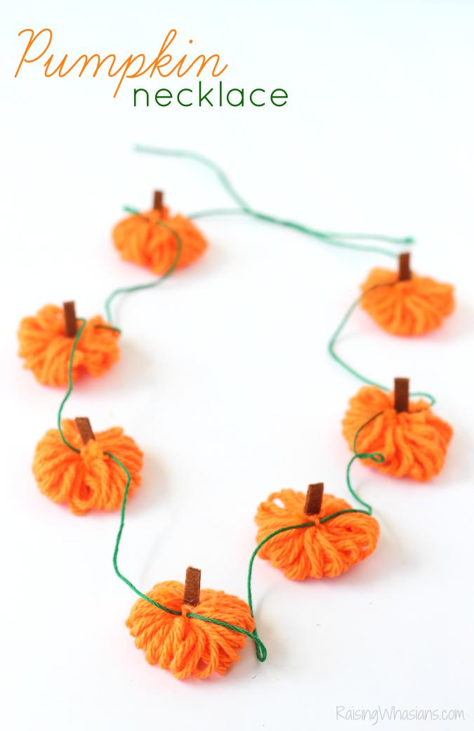 Easy yarn pumpkin necklace craft