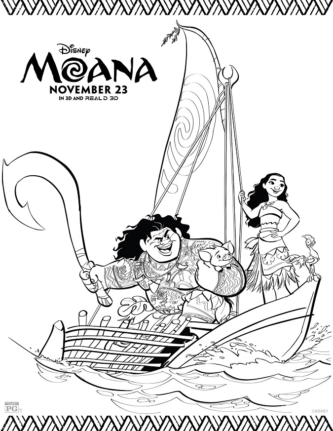 Free Moana coloring kids