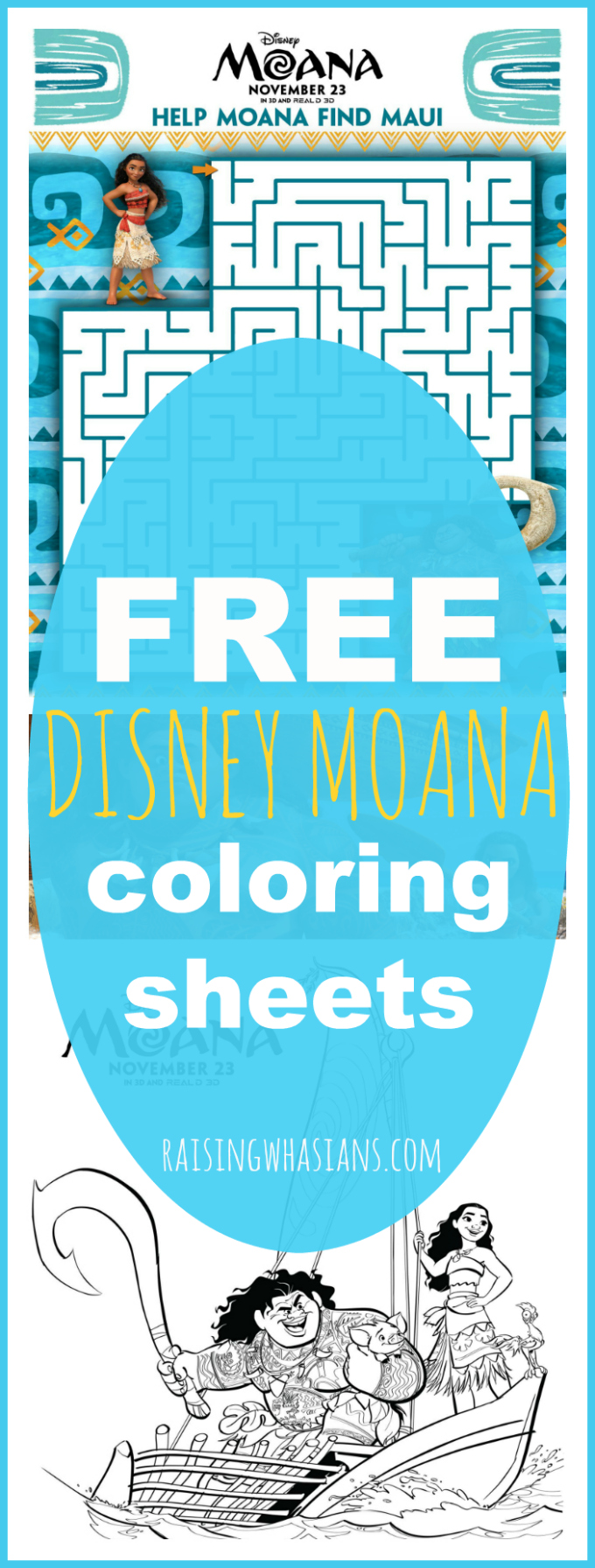 Free Moana coloring sheets pinterest