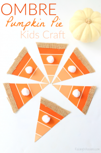 Ombre paint chip pumpkin pie craft