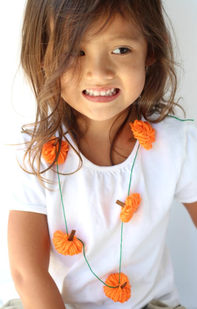 Yarn pumpkin necklace craft