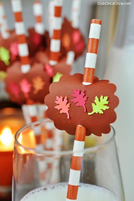 Fall leaf party straws craft idea