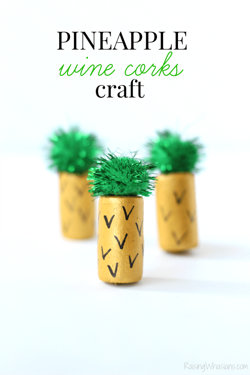 Wine cork kids craft pineapple
