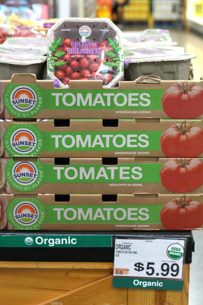 BJs organic produce prices