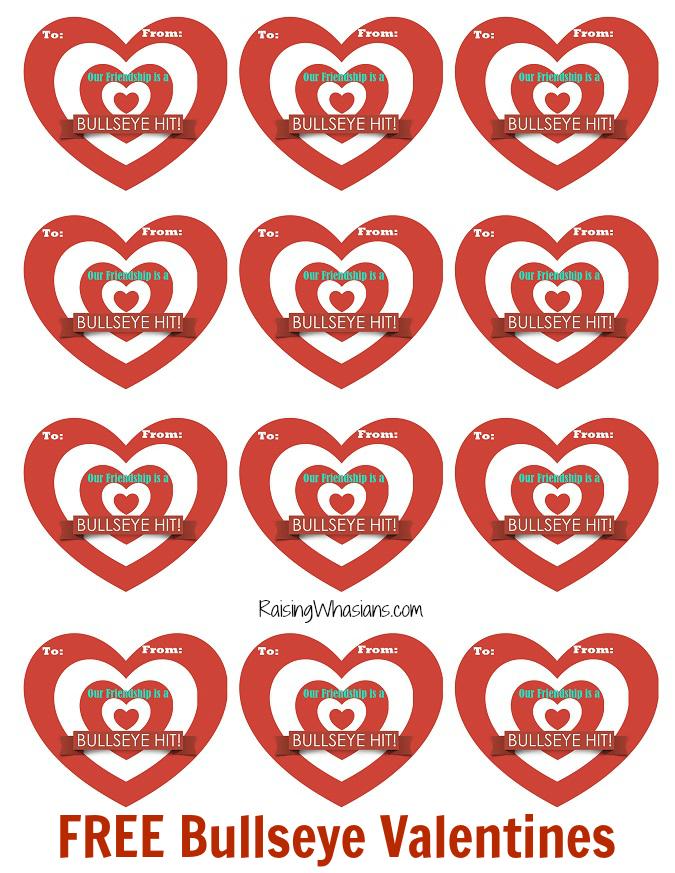 Bullseye valentines printable free