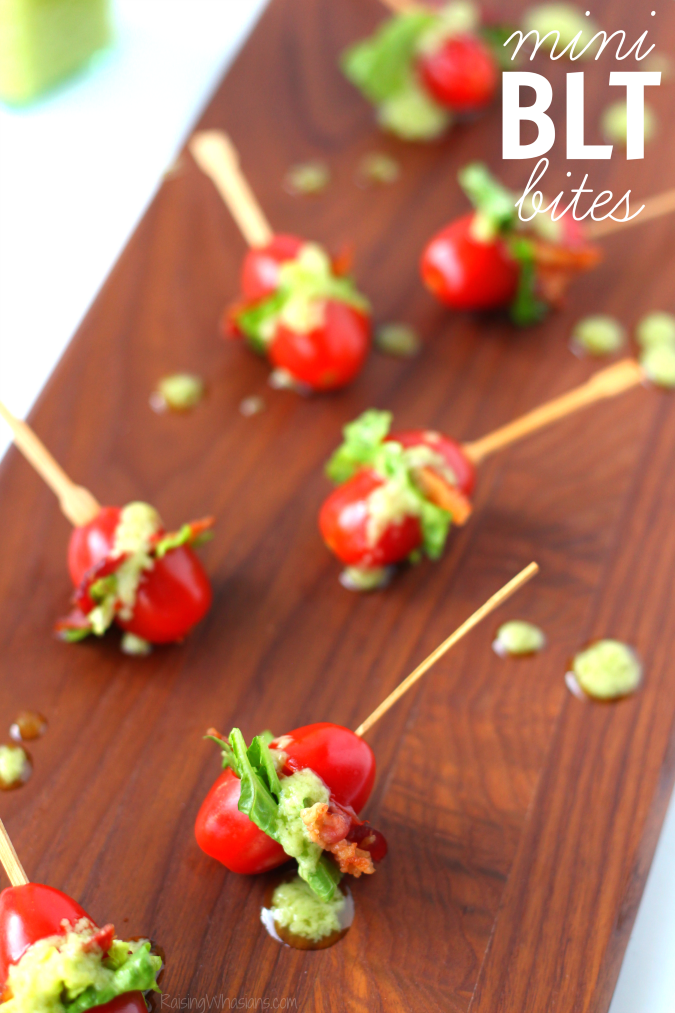 Mini BLT bites with avocado vinaigrette dressing