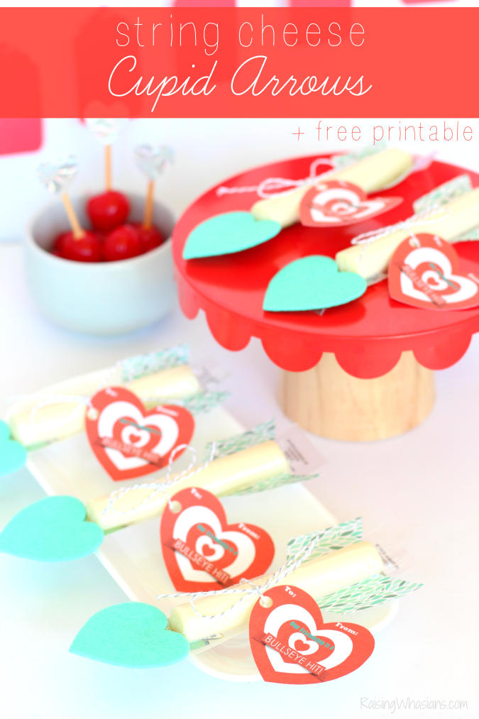 String cheese cupid arrows printable valentine