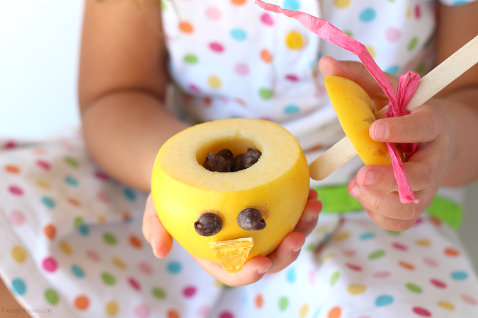 Easter chick apple snack for kids