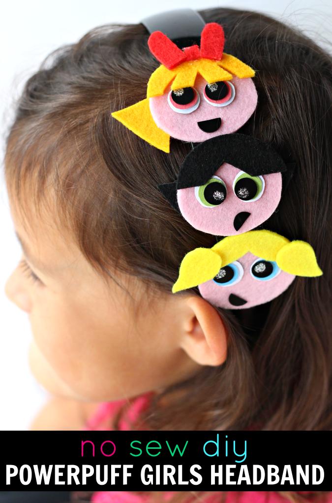 No sew powerpuff girls headband diy