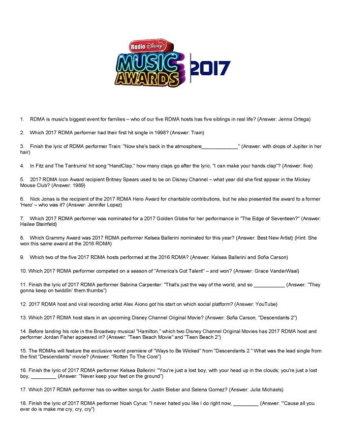 Radio Disney music awards trivia