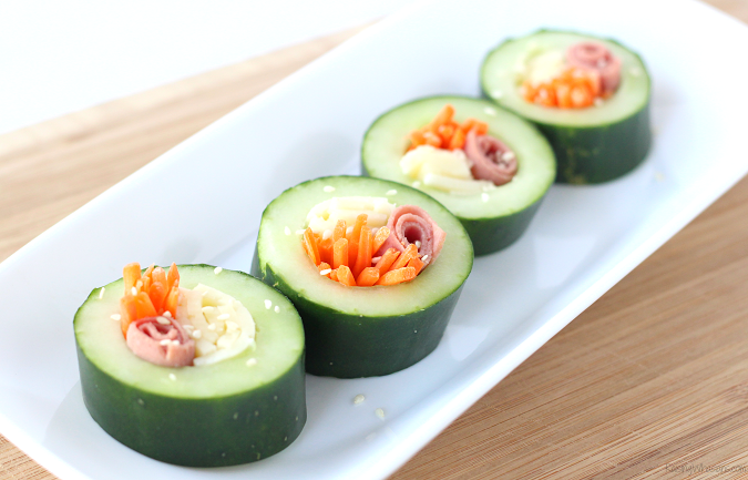 Cucumber sushi for kids
