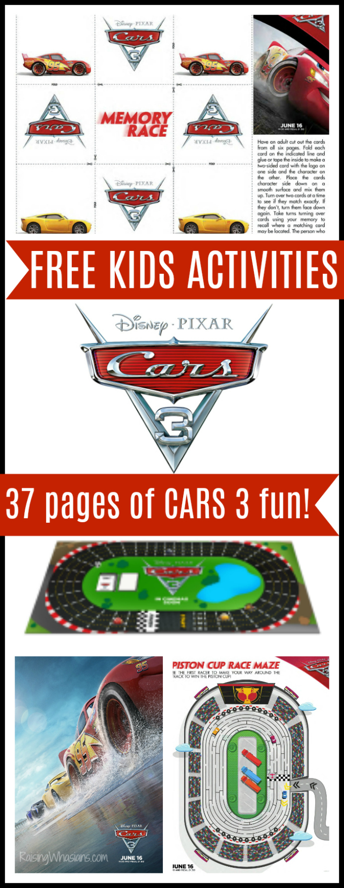 Free cars 3 kids activities printables