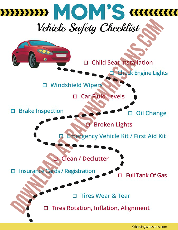 Printable vehicle safety checklist