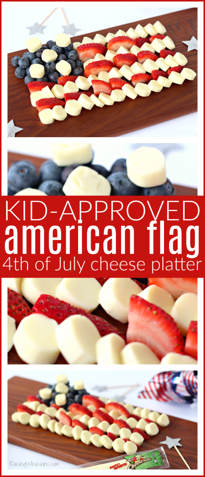 American flag cheese platter pinterest Celebrate Independence Day with a Fourth of July Cheese Platter, Kid-Approved! Perfect healthy appetizer/snack for your family party, American Flag inspired #IndependenceDay #FourthofJuly #Recipe #Snack #HealthyRecipe #Appetizer