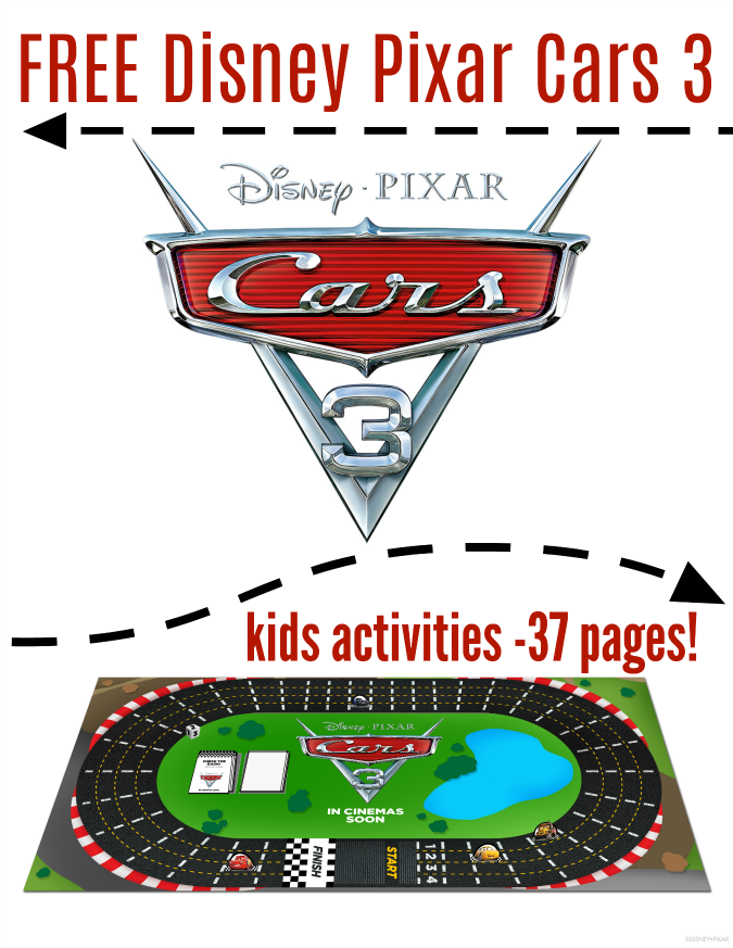 Free cars 3 activities for kids