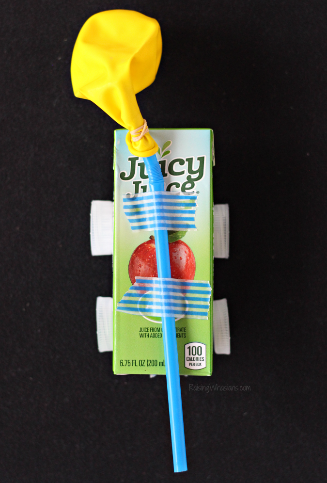 Juice box balloon car stem craft