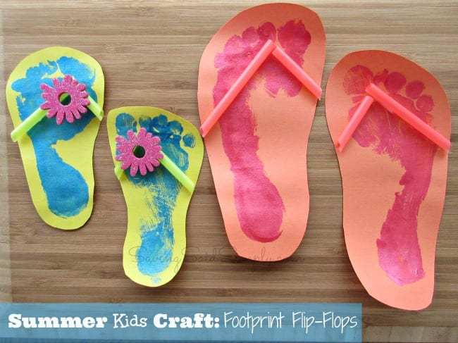 summer kids craft footprint flip flops raising whasians. Black Bedroom Furniture Sets. Home Design Ideas