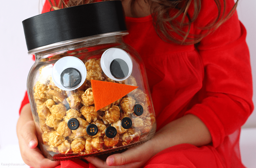 Snowman popcorn jar