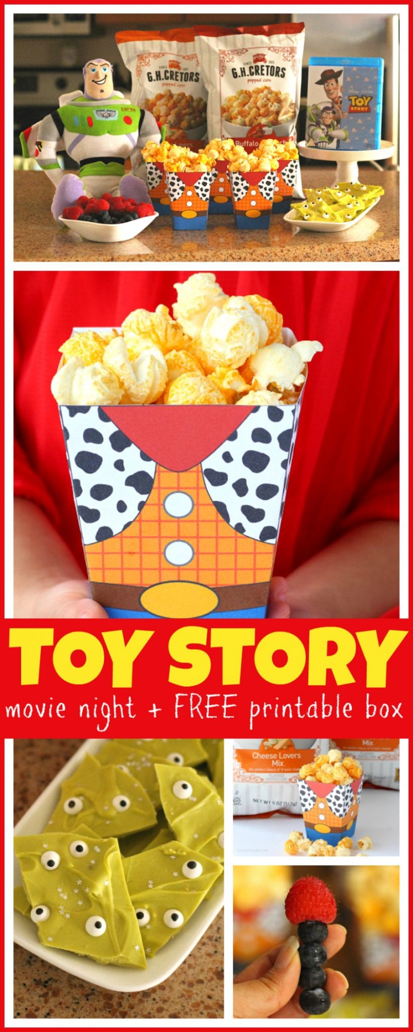 Grab the family for these Easy Toy Story Movie Night Ideas! Your Disney bunch will love these simple Toy Story themed food ideas + FREE Printable Woody Popcorn Box! - #ToyStory #MovieNight #PartyPlanning