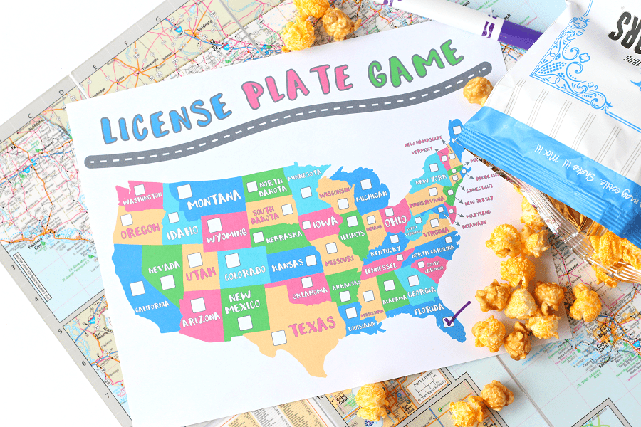 Free license plate game printable for kids