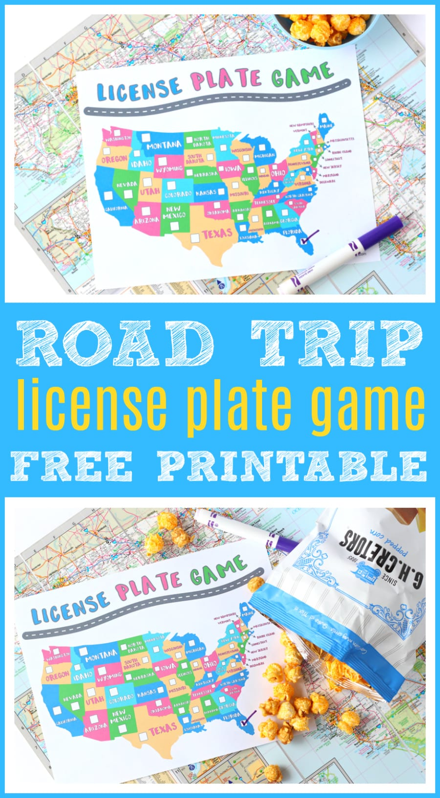 Taking the kids on a road trip? Don't forget to print this FREE License Plate Game Printable. Easy way to keep your little ones busy on long car rides, with simple checklist the whole family can get involved in + easy road trip snack ideas! #RoadTrip #FamilyTravel #FreePrintable