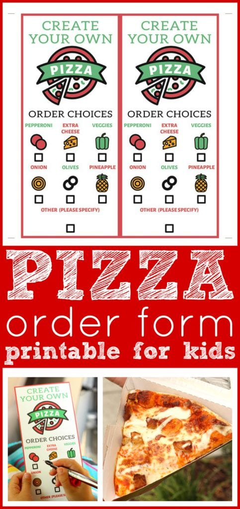 graphic regarding Pizza Printable identify Free of charge Pizza Buy Sort Printable Our Lunch Day with Daddy