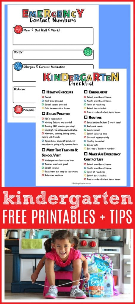 Free kindergarten printable - Kindergarten Tips for Parents + FREE Checklist Printable | Best tips to get your child ready for the school year + checklist & emergency contact printables - Prepare for Kindergarten with this free printable and tips for moms from a new kindergarten mom. #Kindergarten #BacktoSchool #FreePrintable
