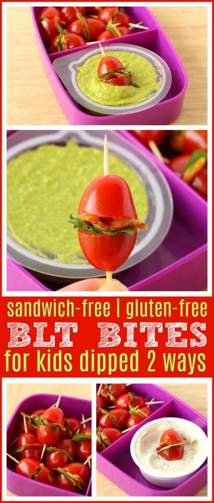 Gluten free BLT Sandwich- Gluten-Free BLT Bites for Kids Dipped Two Ways | FUN & creative gluten-free lunch ideas for back-to-school to #PowerYourLunchbox - Gluten-free healthy lunch recipe for kids. This healthy lunch idea would be perfect for kids or adults and would be awesome for a meal plan. #Recipe #GlutenFree #GlutenFreeRecipe #LunchBoxRecipe