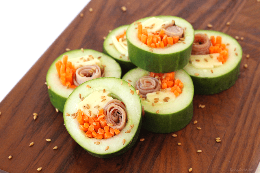 Kid friendly cucumber sushi