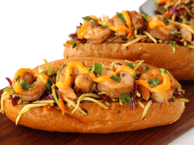 Asian shrimp po boy with spicy slaw