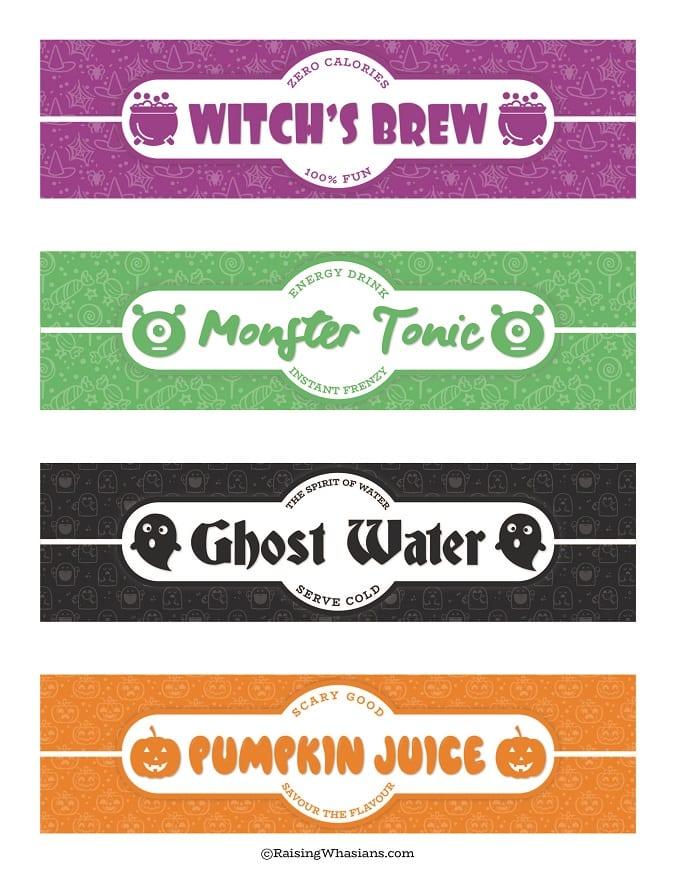 Free Halloween water bottle labels