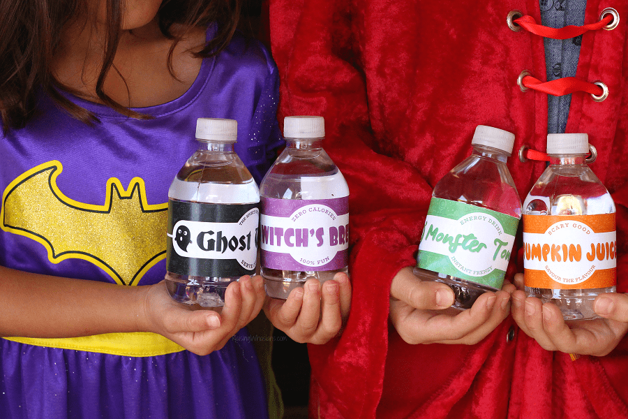 Free printable Halloween water labels