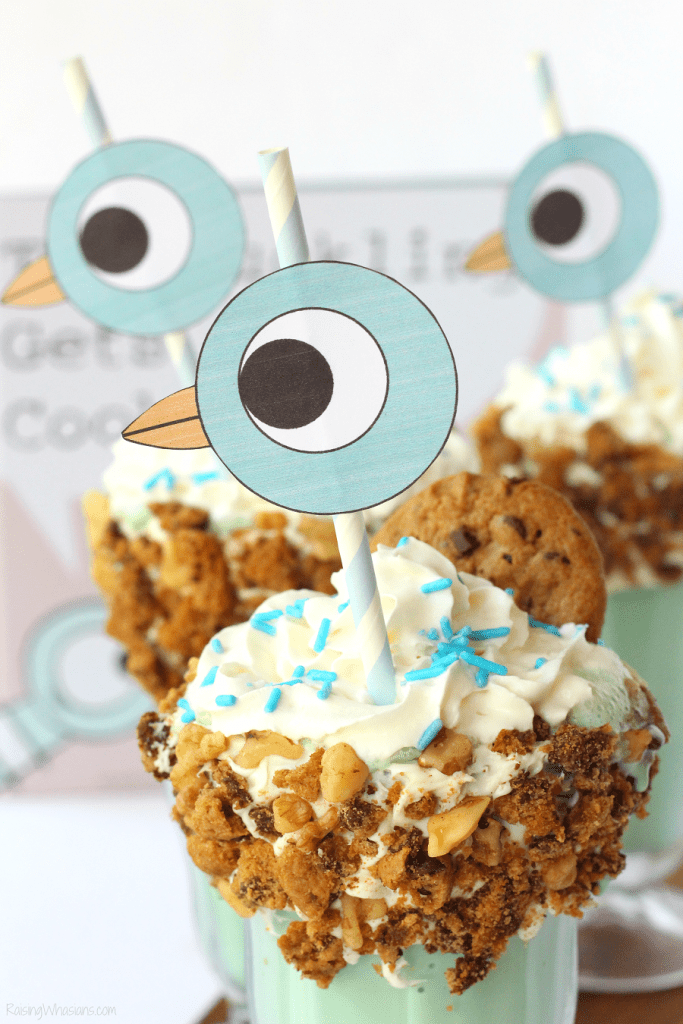 FREE Pigeon Printable Straw Topper + 16th BIRD-day Milkshake | Celebrate Mo Willems Pigeon's birthday with easy freakshake recipe, perfect themed party idea #BirthdayParty #PartyPlanning #Recipe #FreePrintable #FreakShake #Dessert