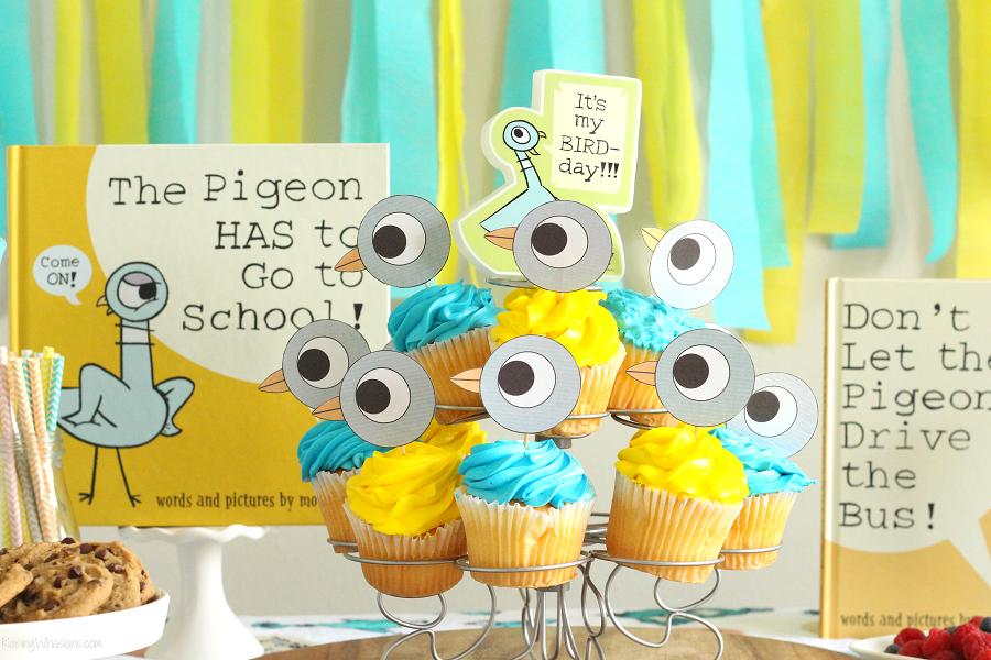 Free pigeon cupcake topper printable