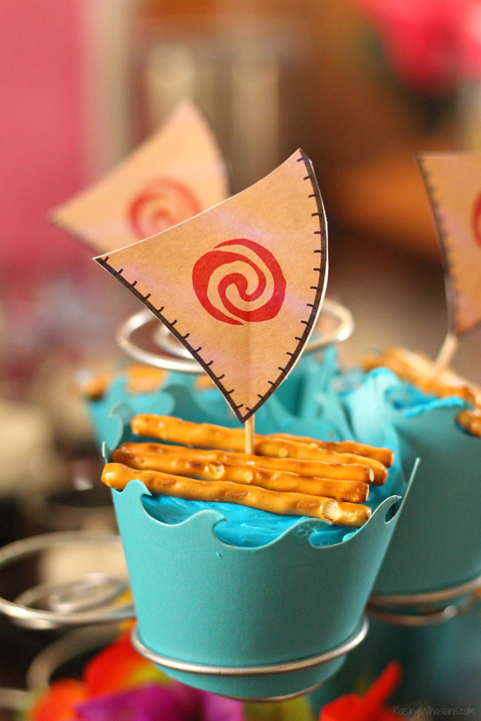 graphic about Moana Sail Printable identified as Straightforward Moana Cupcakes with Totally free Printable Toppers - Growing