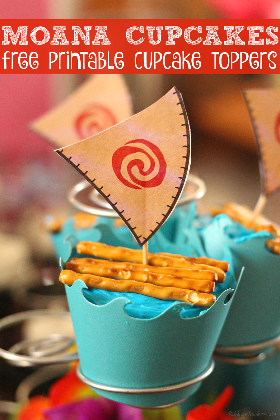 Free Moana cupcake toppers