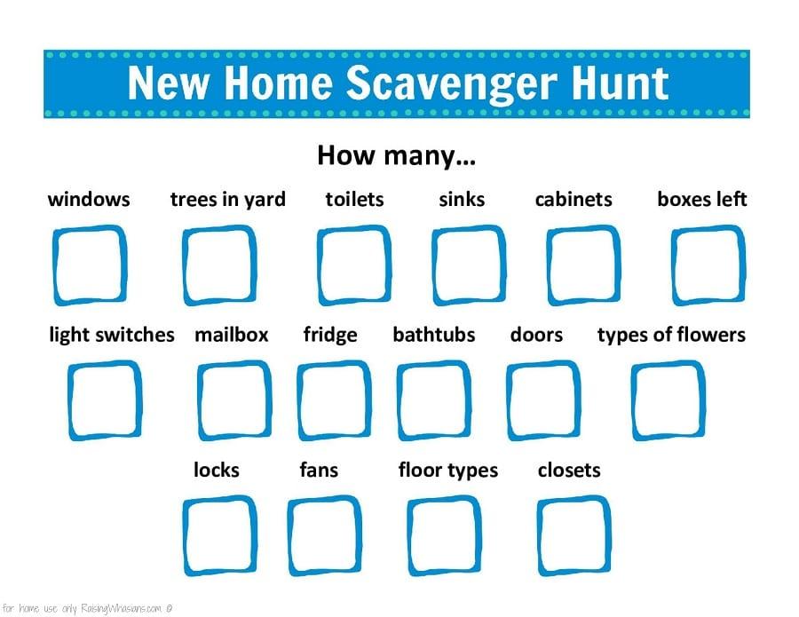 Free new home scavenger hunt