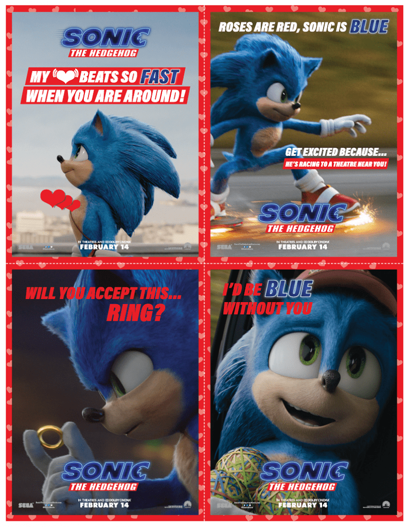 Free printable sonic movie valentines