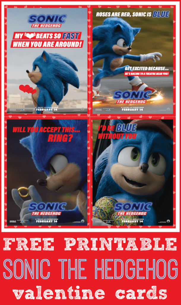 Free printable sonic the hedgehog valentines