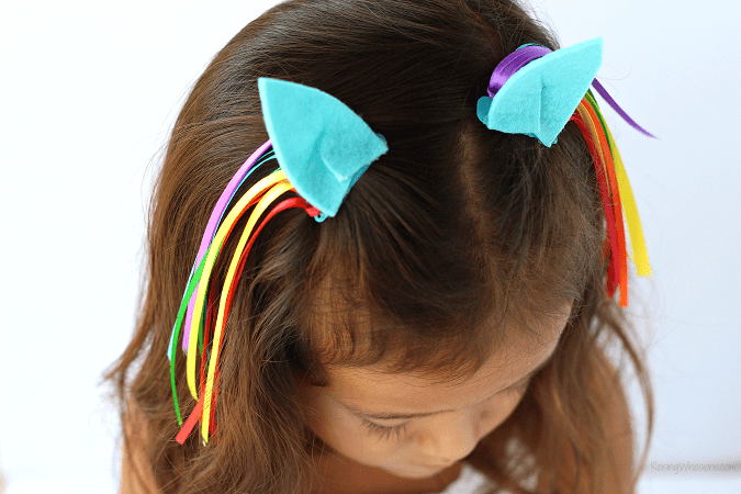 Rainbow dash hair clips diy