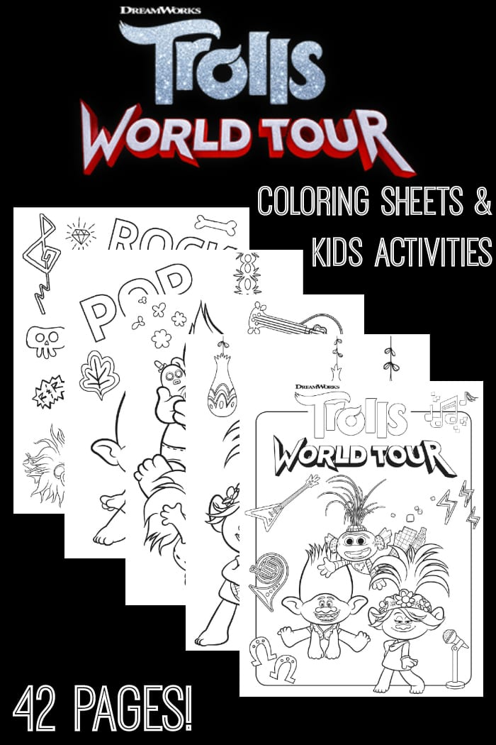 Free trolls world tour coloring sheets