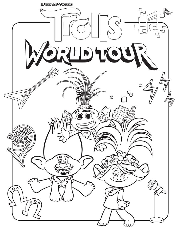 Trolls world tour free coloring printable